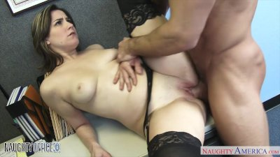 Babe in pantyhose Addie Juniper fucking in the office