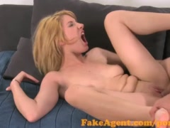 FakeAgent Softcore blonde photo model tries adult sex casting