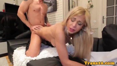 Doggystyled bigass tgirl jizzed on big boobs