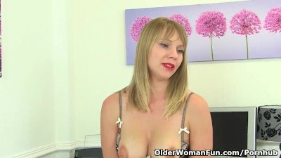 British and hard nippled milf Abi Toyne strips off