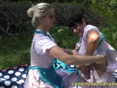 Preview 2 of German Lederhosen Gangbang In Nature