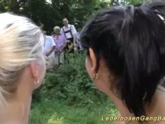 Preview 5 of German Lederhosen Gangbang In Nature