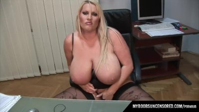 Huge tits Laura Secretary masturbate in office