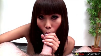 Teen femboy in panties gives a proper blowjob and handjob
