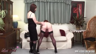Naughty kinky TGirl wrapped and bound before wanking and shooting her load