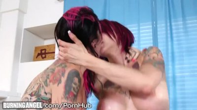 Emo Step-Sisters Double Team a Cock