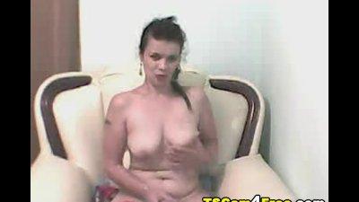 Busty Tranny Masturbate her Cock