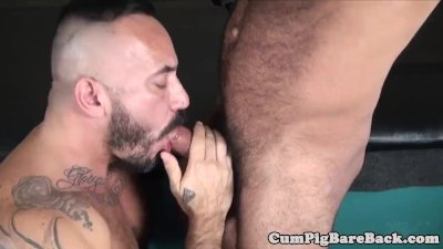 Raw fucked nipple pierced bear jerks off cum