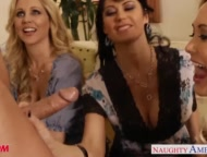 The Swinger Experience Presents Busty moms Brandi Love, Eva Karera and Julia Ann suck cock