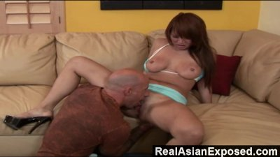 RealAsianExposed - Big-boobed Asian babe is ready for huge white dick