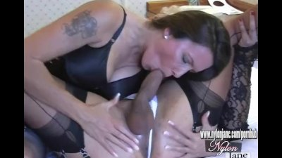 Nylon Jane sucks amazing big cock before fucks TGirl pussy and jerking off