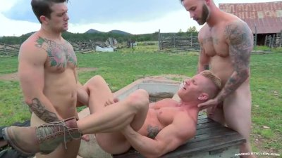 RagingStallion HOT Threesome Outdoors!