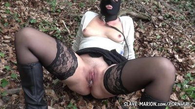 Sex slave wife bondaged and used by several guys outdoors