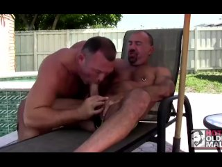 Big Dicked Daddy Jason Proud Fucks Muscle Bear Brock by the Pool