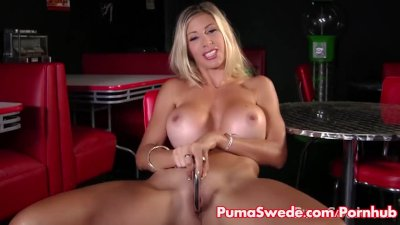 Puma Swede Strips out of Stockings to Cum!