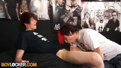 Emo boy gets fucked hard by a big twink dick