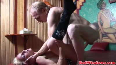 Real dutch hooker sucking balls while jerking