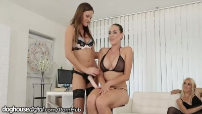 Mea Melone Fucked in All Holes by Strapped Lesbians preview