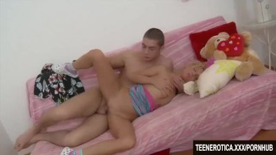 Blonde teen take big cock in her ass