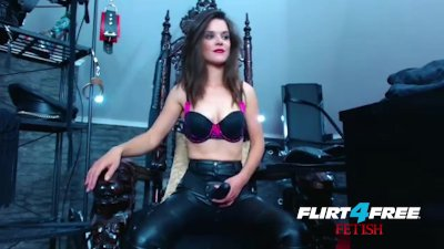 Smokin\' Hot Mistress Humiliates Slave with Strap-on.