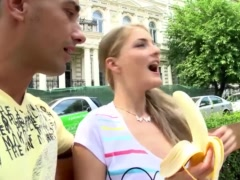 Tourist chick gets picked up and Fucked Deep after eating a Banana