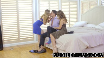 NubileFilms - Horny Coeds Titty Fucking Threeway