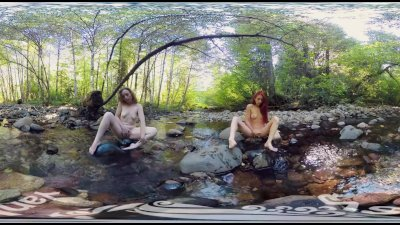YanksVR\'s Ana Molly and Belle Masturbate and Cum Outside in a Creek