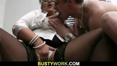 Blonde BBW sucks and rides customer\'s cock