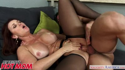 Busty horny MILF Janet Mason fucks her son\'s friend - Naughty America