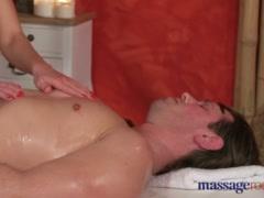 Massage Rooms Athletic brunette model sucks and fucks studs fat dick