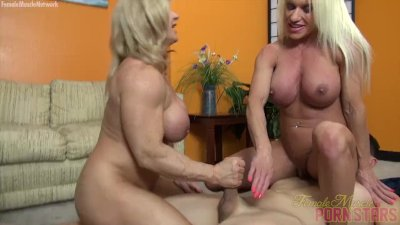 Two Female Bodybuilders Fuck One Dude