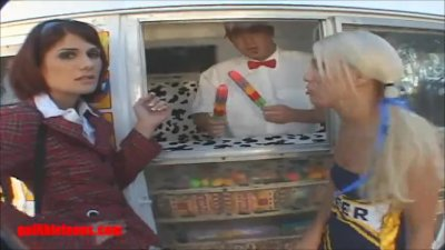 icecream truck cheerleader and school girl share cock and cream and pussy