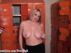 All natural Maggie Green Sucks Cock in the Locker Room!