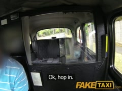 FakeTaxi Very sexy babe fucks taxi driver in her black bra and panties