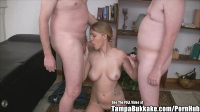 Clueless Blonde Nice Breasts Threesome Fuck