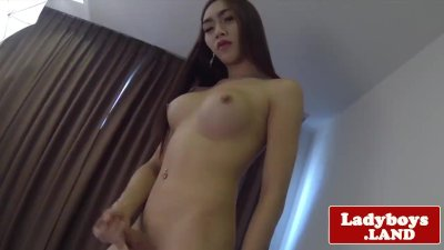 Horny TS Rebeka Marques strokes her dick in self pleasure