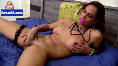 Seductive latina tgirl jerking her cock