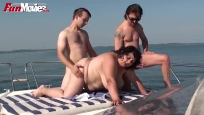 Fat Granny Gangbanged on the boat